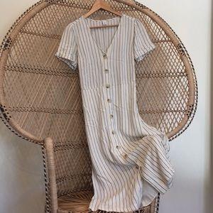 Linen midi button down dress